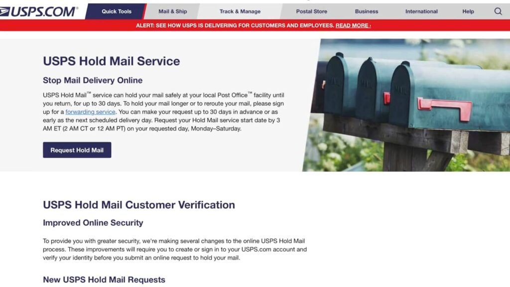 Mail On Hold website